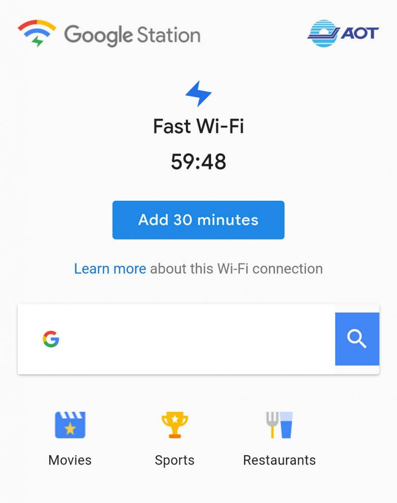 free wifi don mueang airport google station